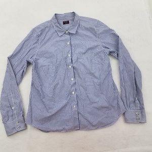 Untuckit Women's Blue Stripe Shirt Long Sleeve But